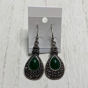 Green Stone Silver Teardrop Classic Earrings